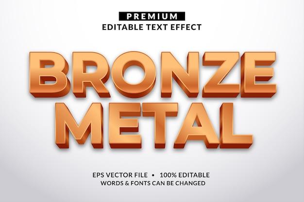 Stile del carattere di effetto testo modificabile in metallo bronzo