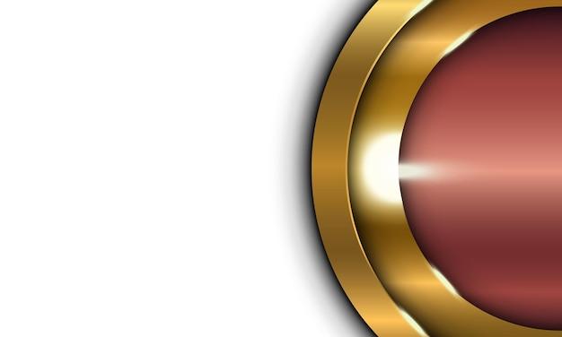 Cerchio lucido metallizzato bronzo che si sovrappone all'illuminazione sullo sfondo dello spazio bianco
