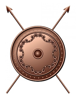 Scudo di bronzo e lance incrociate. escudo