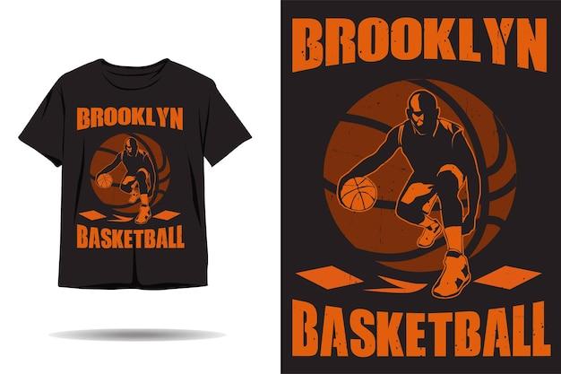 Disegno della maglietta della silhouette del basket di brooklyn