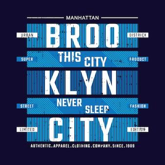 Design tipografico della maglietta della città di brooklyn