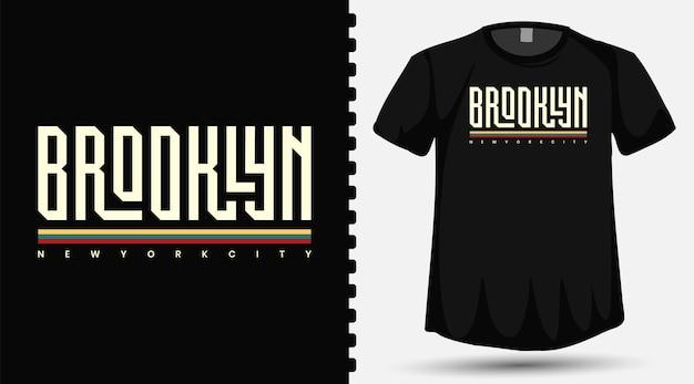 Caratteri tipografici della contea di brooklyn sulla maglietta