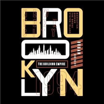 Illustrazione grafica di vettore di progettazione di tipografia della maglietta di brooklyn
