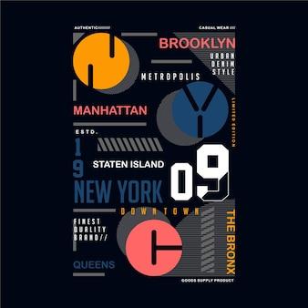 Tipografia di cornice di testo simbolo di brooklyn manhattan, nyc per il design della maglietta