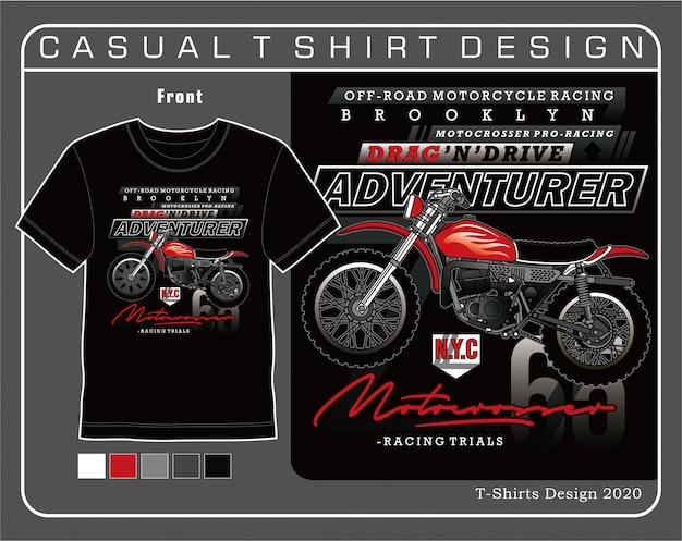 Brooklyn motocrosser pro racing, illustrazione di tipografia di moto per t-shirt