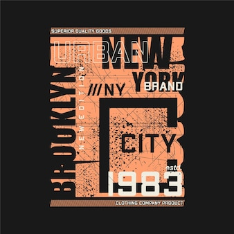 Brooklyn new york city flat desig grafica astratta t shirt tipografia vector