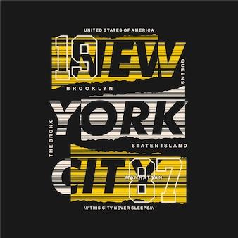 Brooklyn new york city t-shirt grafica astratta a righe tipografia stile casual