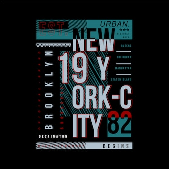 Illustrazione di vettore di tipografia di brooklyn, new york city per la maglietta di stampa