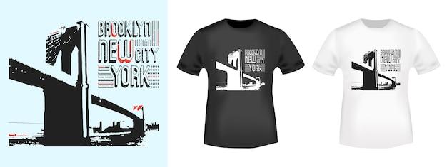 Mockup di timbro e maglietta di brooklyn new york