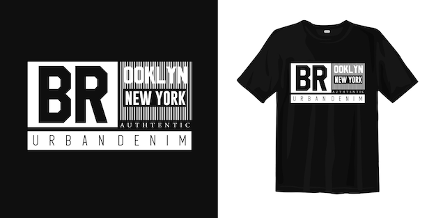 Design t-shirt in denim urbano di brooklyn new york