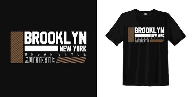 T-shirt stampata in stile urbano di brooklyn new york