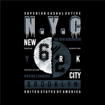 Brooklyn nyc grafica tipografia t shirt design illustrazione stile casual