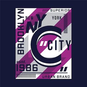 Maglietta tipografica vettoriale di design grafico di marca urbana superiore di brooklyn