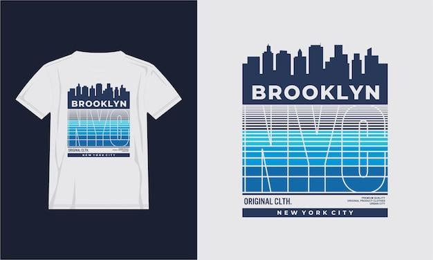 Brooklyn con la maglietta di progettazione della costruzione della città della siluetta