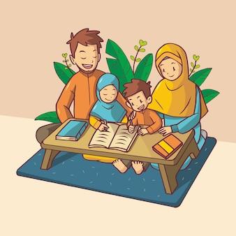 Fratello e sorella studiano con i genitori. indossano abiti arancioni e blu