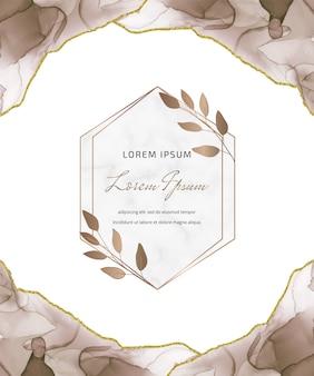 Carta glitter inchiostro marrone alcool con foglie e cornici geometriche in marmo. fondo dipinto a mano astratto.