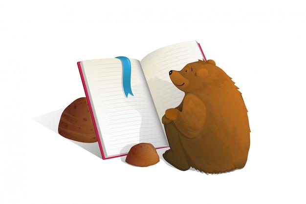 Orso bruno seduto lettura del libro di educazione dei cartoni animati.