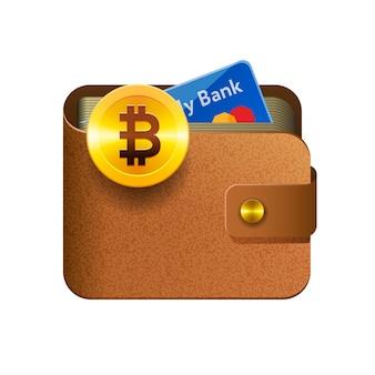 Icona di portafoglio bitcoin marrone con moneta e carta di credito, sfondo isolato, illustrazione.