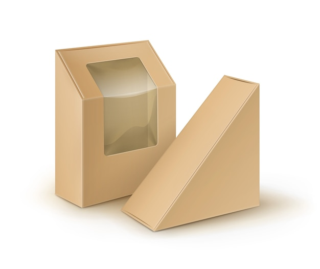 Scatole da asporto triangolo rettangolo di cartone vuoto marrone che imballano per il panino