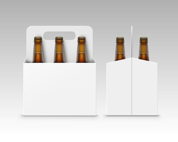 Bottiglie marroni di birra scura con confezione in cartone