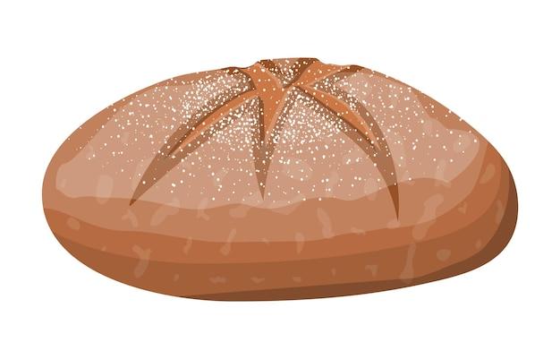 Pagnotta di pane integrale. rotolo di pane di segale. cibo al forno. pasticceria. illustrazione vettoriale in stile piatto