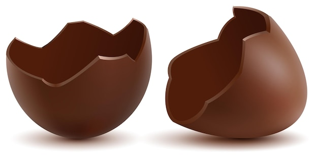 L'uovo di cioccolato rotto marrone ha incrinato le coperture due metà