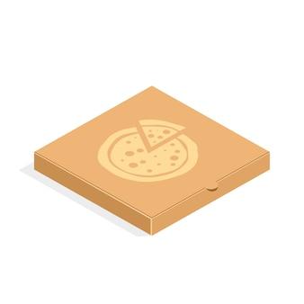 Scatola per pizza di imballaggio in cartone marrone in stile piano. scatola di cartone per pizza isolata.