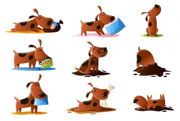 Insieme del cane del fumetto di brown delle normali attività quotidiane su fondo bianco