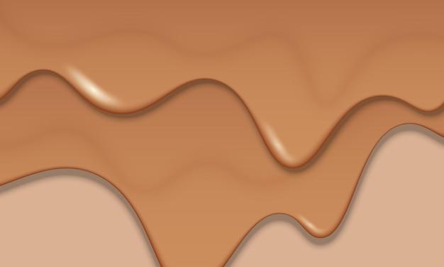 Fondo di fusione del cioccolato marrone. illustrazione vettoriale. modello per spot pubblicitari.