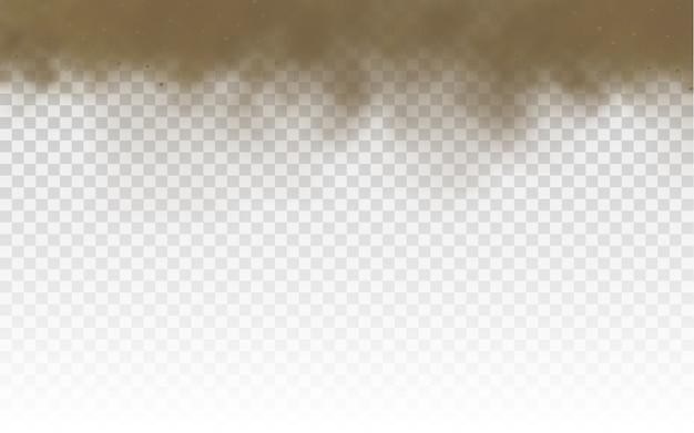 Nuvola polverosa marrone o sabbia asciutta che vola, tempesta di sabbia.