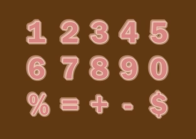 Numeri del modello 3d di riempimento marrone impostati