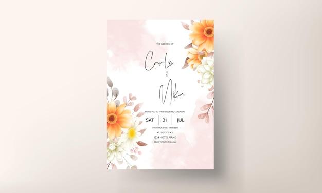 Modello stabilito di carta dell'invito di nozze floreale marrone