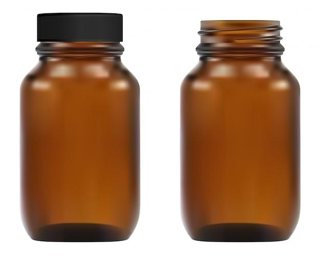 Bottiglia medica in vetro marrone. contenitore per farmacia