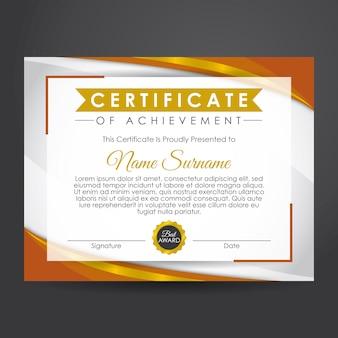 Certificato di conseguimento in oro e marrone