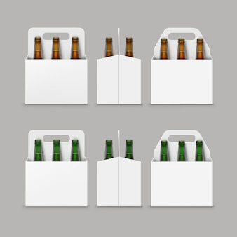 Bottiglie di birra verde marrone con imballaggio
