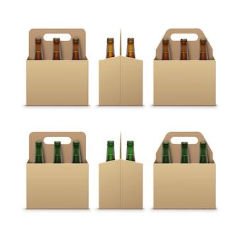 Bottiglie di birra scura marrone verde con imballaggio