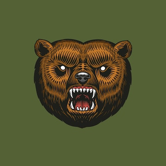 Orso grizzly bruno, animale selvatico. stile monocromatico vintage.