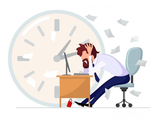 Uomo barbuto dai capelli castani in abito formale seduto alla scrivania del computer e stringendo la testa tra le mani tra i documenti sparsi sullo sfondo di un grande orologio. problemi sul lavoro. illustrazione del fumetto.