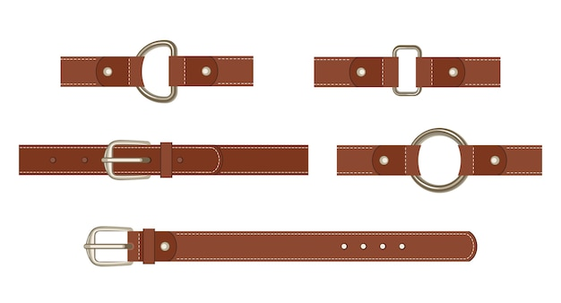 Set cintura in pelle marrone