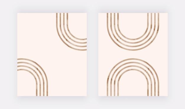 Stampa artistica da parete con linee marroni. poster di design boho
