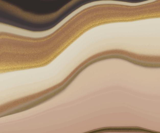 Inchiostro liquido marrone con sfondo di lusso glitter oro
