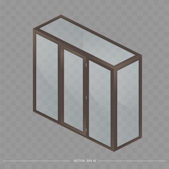 Balcone di metallo-plastica marrone in isometria. progetto balcone alla francese. stile realistico