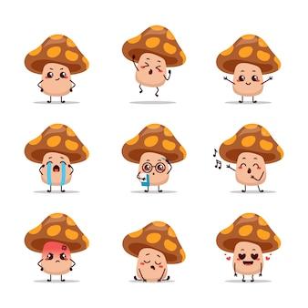 Espressione dell'autoadesivo della mascotte del fumetto di animazione dell'icona del carattere del fungo marrone che canta amore malato