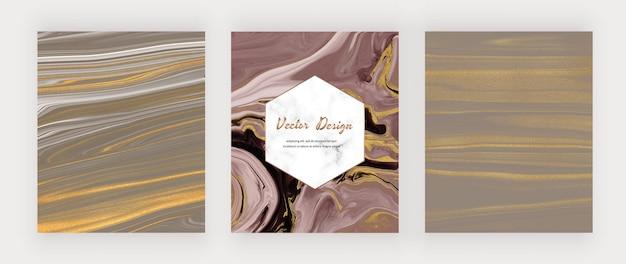 Inchiostro liquido marrone e viola con glitter oro e cornice in marmo.