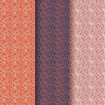 Sfumature marroni della collezione di pattern di linee arrotondate