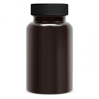 Flacone integratore marrone. pacchetto pillola di plastica. vaso