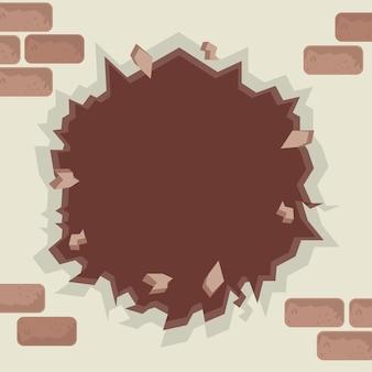 Muro marrone incrinato o distrutto