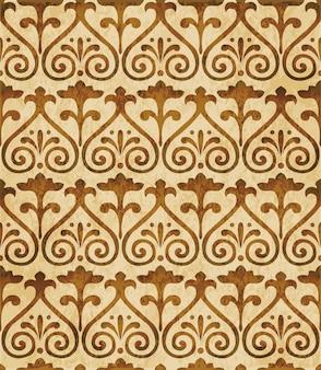 Struttura dell'acquerello marrone, modello senza soluzione di continuità, fiore croce a spirale curva