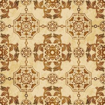 Struttura dell'acquerello marrone, modello senza cuciture, geometria del poligono rotondo foglia da giardino