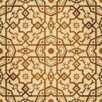 Struttura dell'acquerello marrone, modello senza cuciture, fiore stella poligono quadrato croce islamica